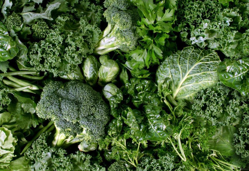A variety of leafy greens such as brocolli, brussel sprouts, kale, parsley, lettuce, and spinach