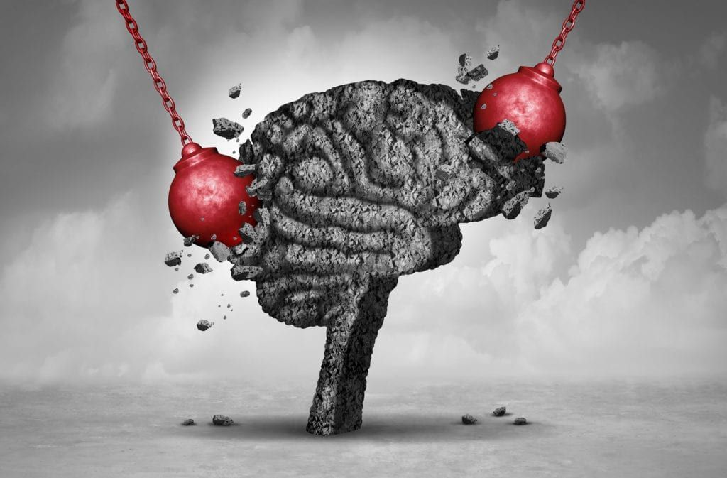 wrecking balls banging against cement brain
